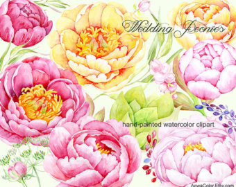 Watercolor flower clipart Periwinkle commercial use by AqwaColor.