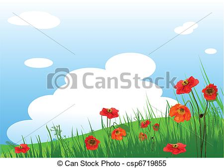 Clipart Vector of Poppies Meadow background.