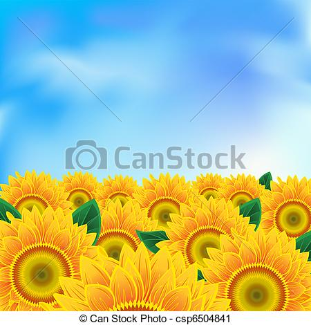 Vector Clip Art of Background with sunflower.