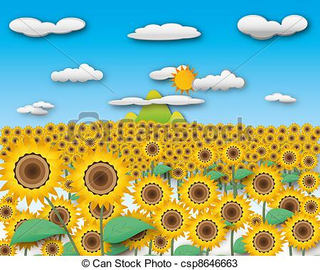 Drawings of Sunflower field and landscape mountain in cloudy sky.