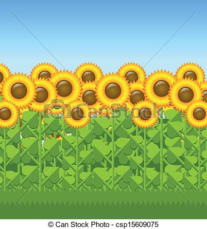 Grass and sunflowers clipart.