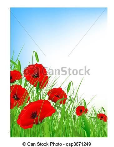 EPS Vectors of poppy field with clear blue sky and copyspace.
