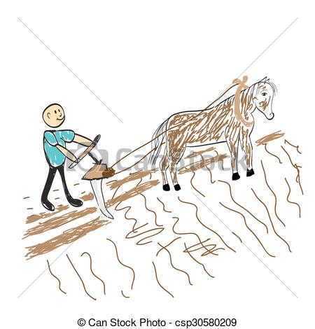 Vector Clipart of farmer sows the seed on the field illustration.