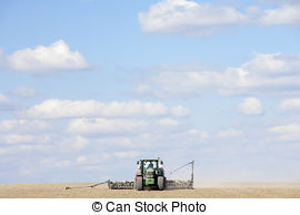 Stock Photographs of Tractor Planting Seed In Field csp7426469.