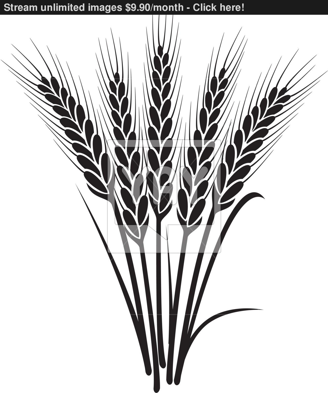 Wheat Harvest Black And White Clipart.