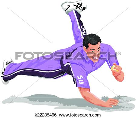 Clip Art of Vector of cricket fielder taking catch. k22285466.