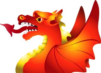 Orange Dragon clip art.