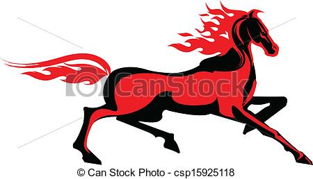Vector Clip Art of Fiery horse.