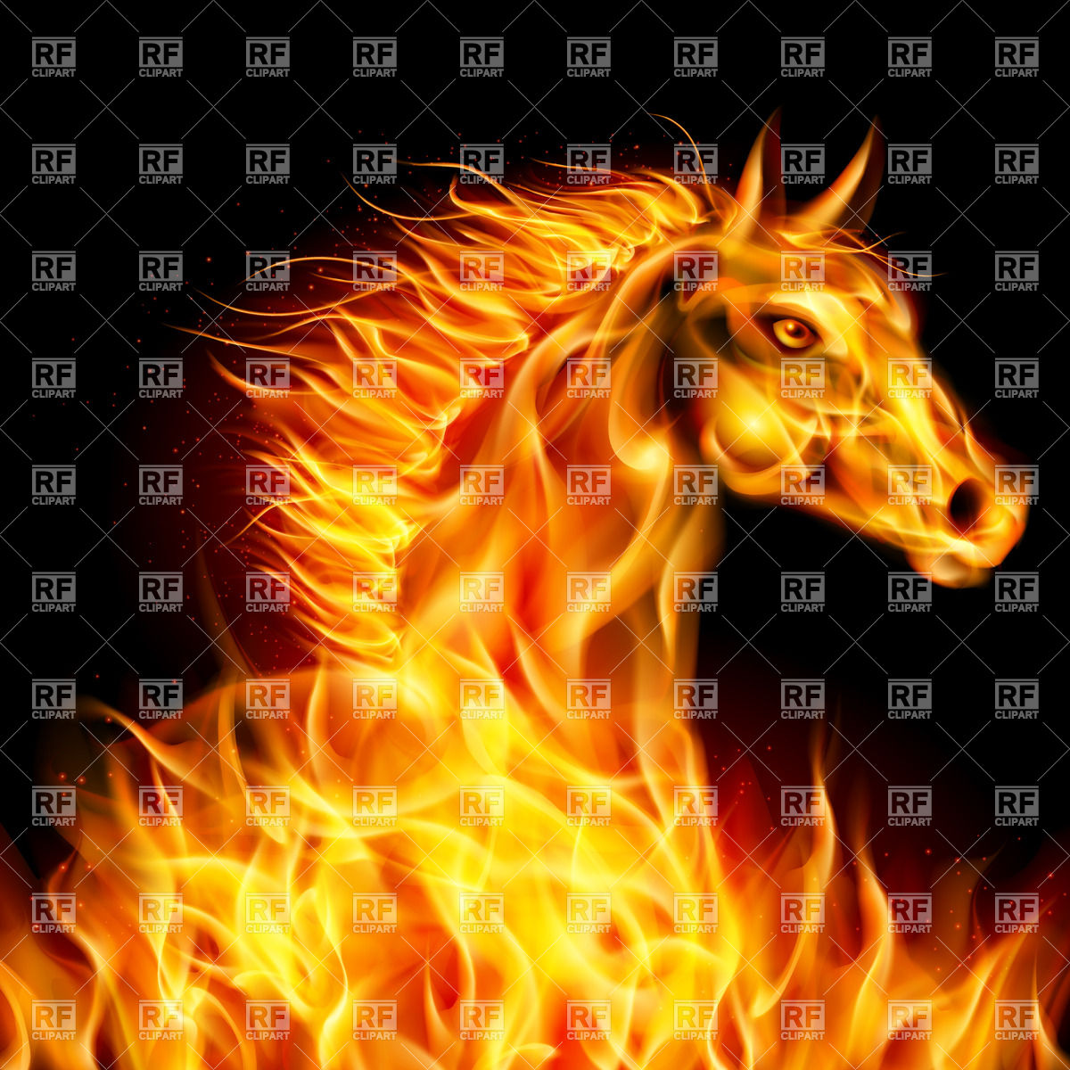 Head of fiery horse on black background Vector Image #24666.
