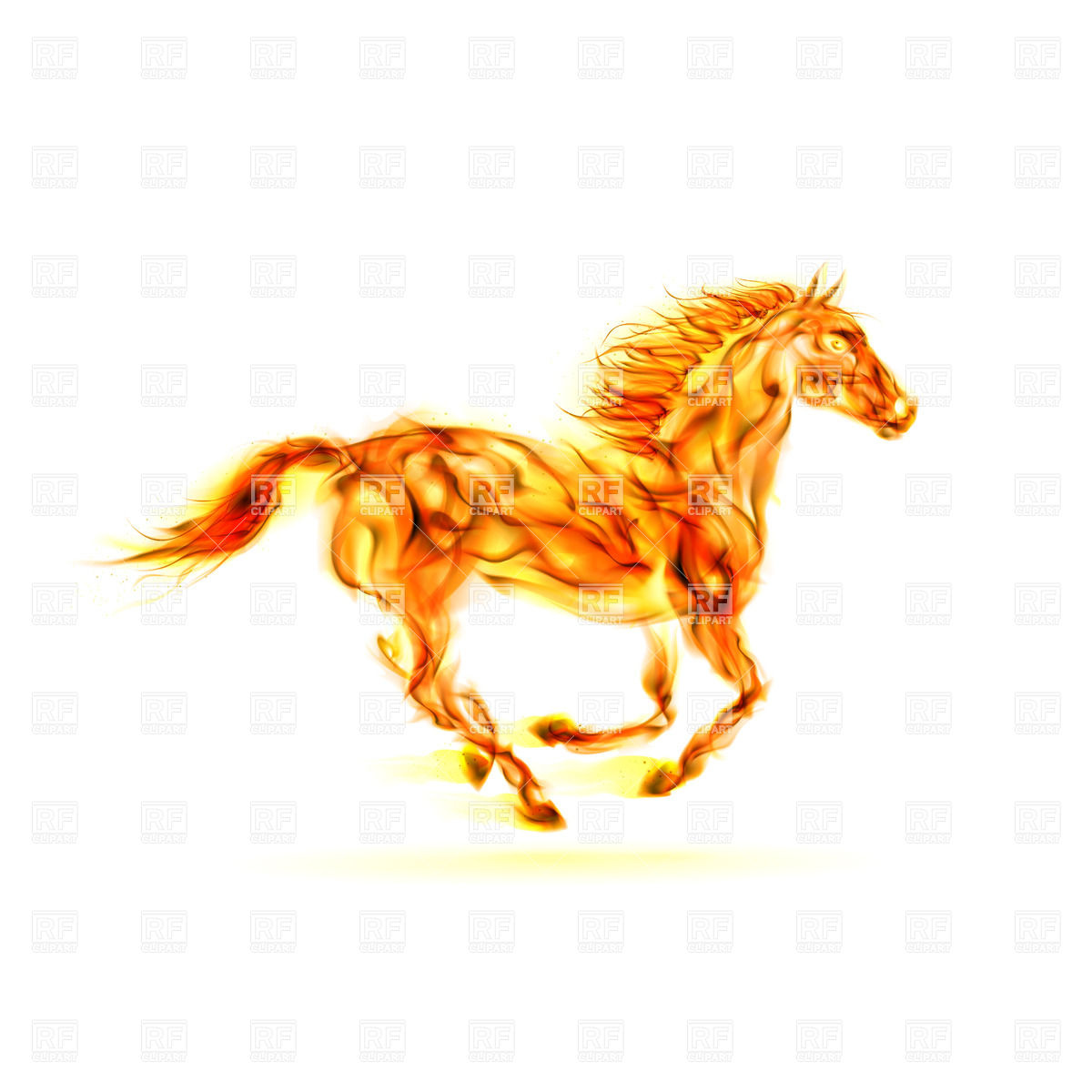 Running fiery horse on white background Vector Image #24883.