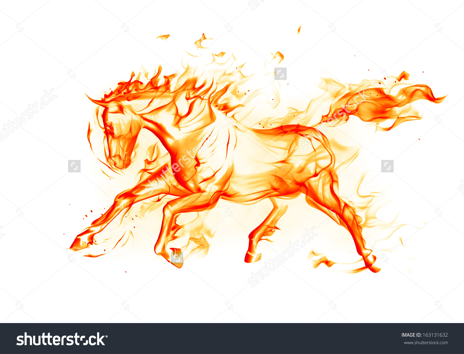 Fiery Horse On White Background Stock Illustration 163131632.