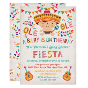 Folk Art Mexican Fiesta Baby Shower Invitation.