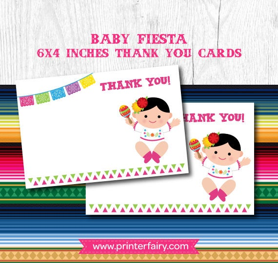 Fiesta Thank You Cards, Fiesta Baby Shower, Mexican Baby Shower.