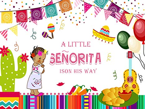 KSZUT 7x5ft Mexican Fiesta Baby Shower Backdrop Little Senorita Photography  Background Vinyl Mexico Fiesta Girl's Baby Shower Party Banner Studio.