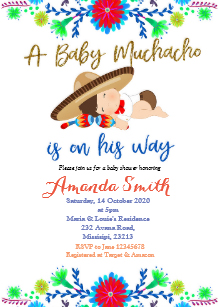 Mexican Fiesta Baby Shower Invitations.