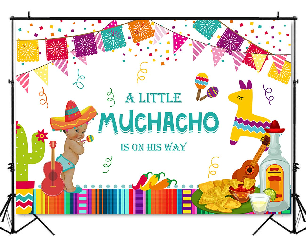 Mehofoto Mexican Fiesta Baby Shower Backdrop Taco Bout Little Boy  Photography Background 7x5ft Vinyl.