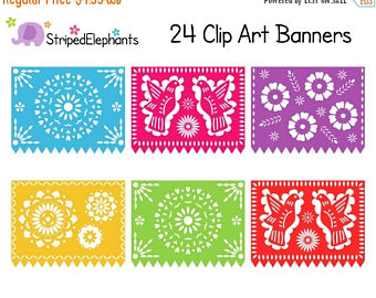 40% OFF SALE Papel Picado Clipart, Digital Fiesta Mexican Banners.