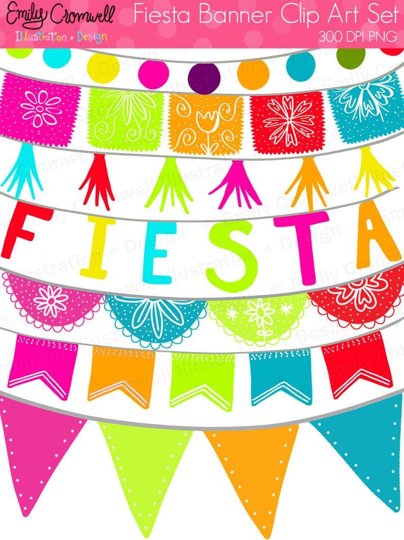 Fiesta Banners Digital Clipart, Fiesta, Mexican Fiesta, Cinco De Mayo,  Fiesta Graphics, Instant Download, PNG Clipart.