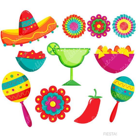 Fiesta Cute Digital Clipart, Spanish Mexican Clipart, Mexican.