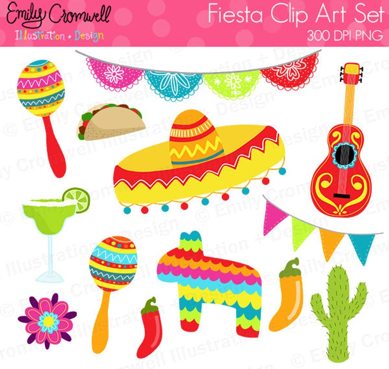 Fiesta Digital Clipart, Cinco De Mayo Clipart, Commercial Use, Instant  Download, PNG, Sombrero Clipart.