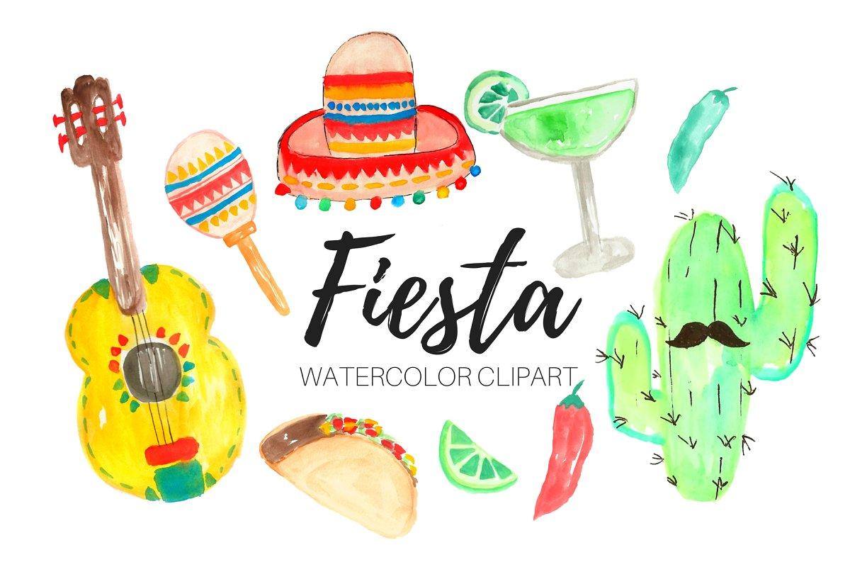 Watercolor Fiesta Clipart.