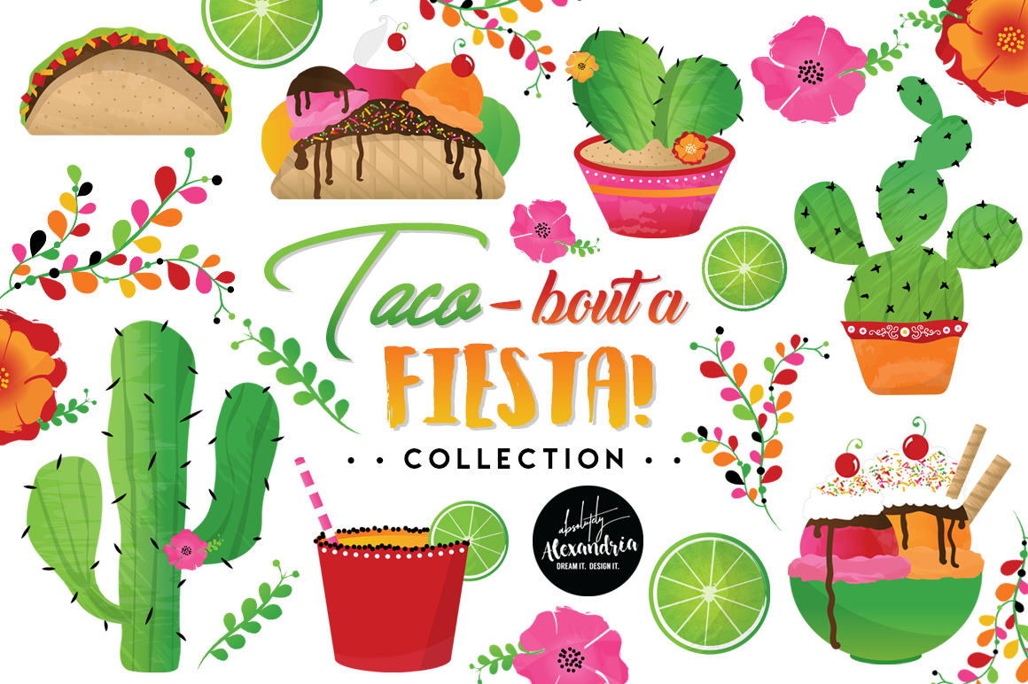 Taco Bout A Fiesta Clipart Graphics & Digital Paper Patterns Bundle.