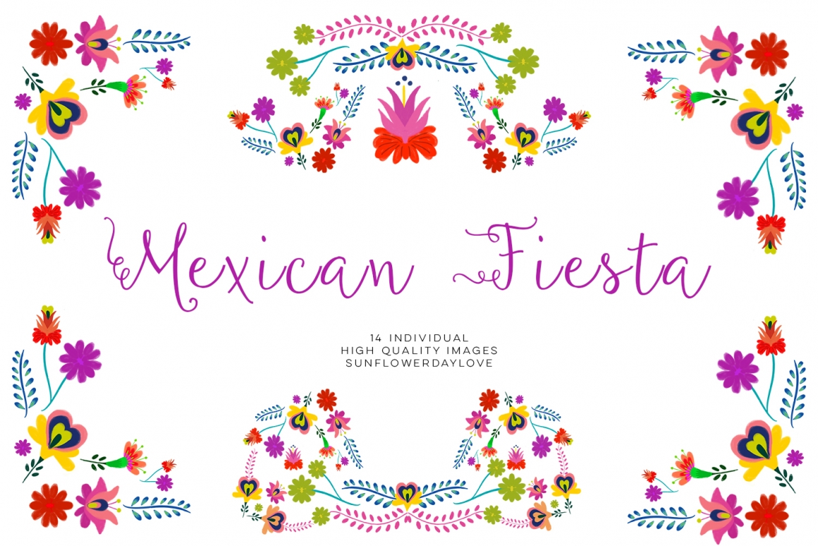 Fiesta clipart, Mexican Watercolor Floral clipart, PNG mexican party clip  art, mexican flowers watercolor floral clip art, cinco de mayo.