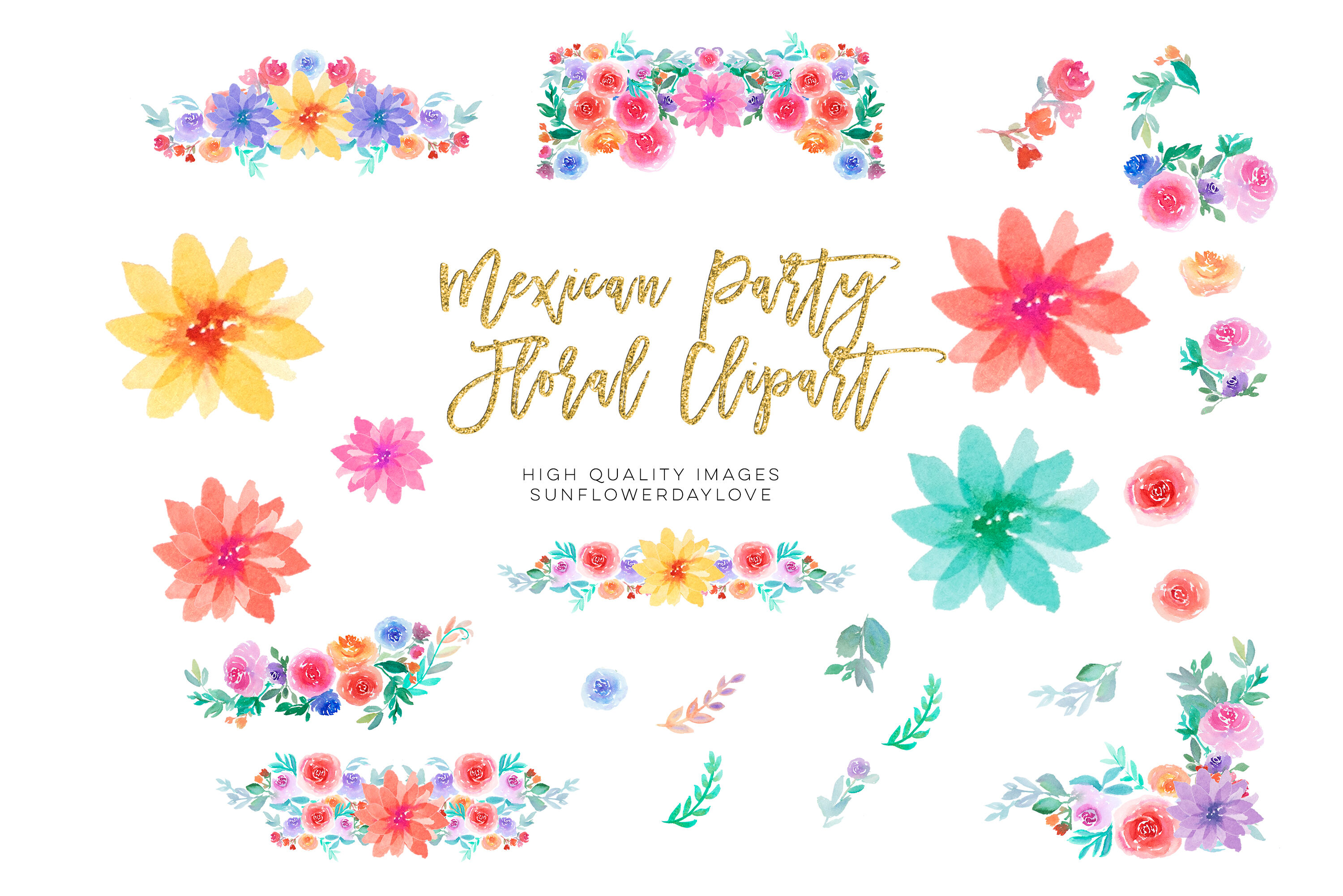 Mexican Fiesta Flowers Clipart, Fiesta Invitation clipart By.