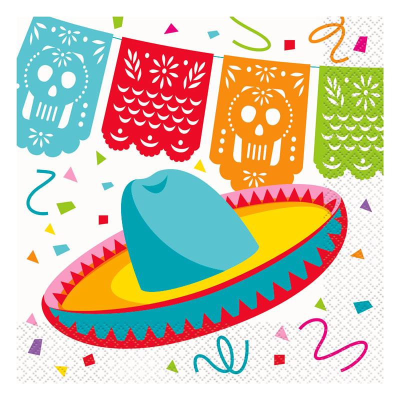 Juego de 16 Servilletas Fiesta Mexicana.