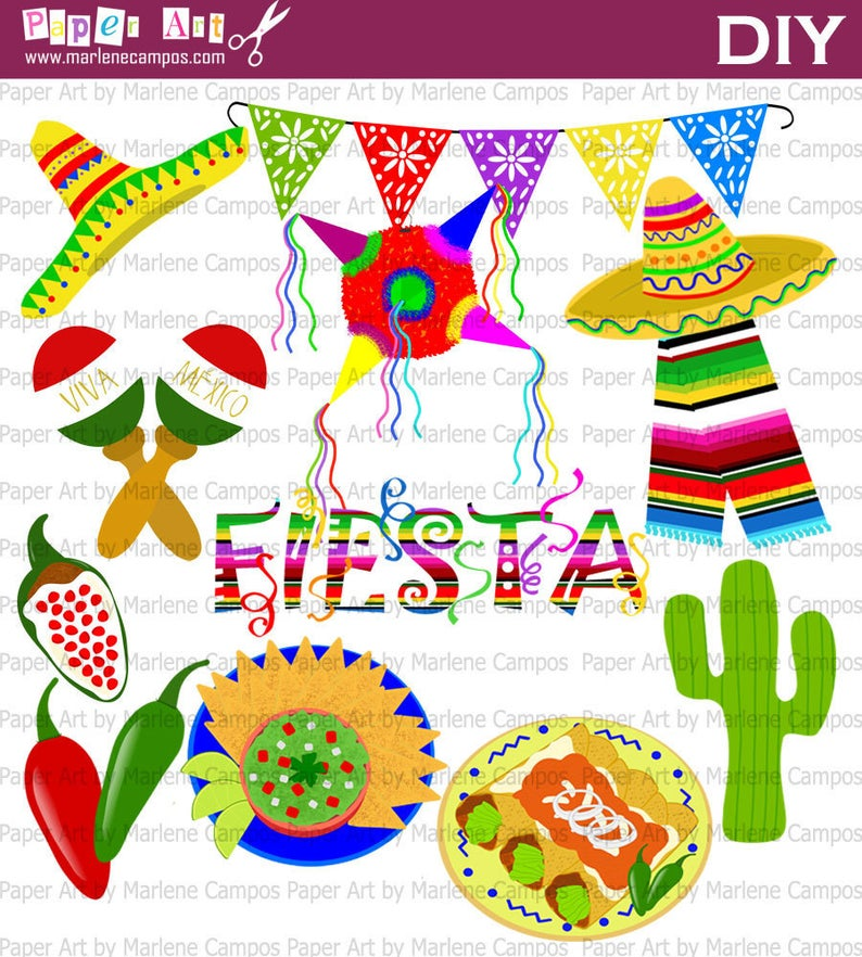 Mexican Fiesta Clip Art, Mexican fiesta party, 5 de mayo clip art, Mexican  Party Clip Art, digital images, scrapbooking.