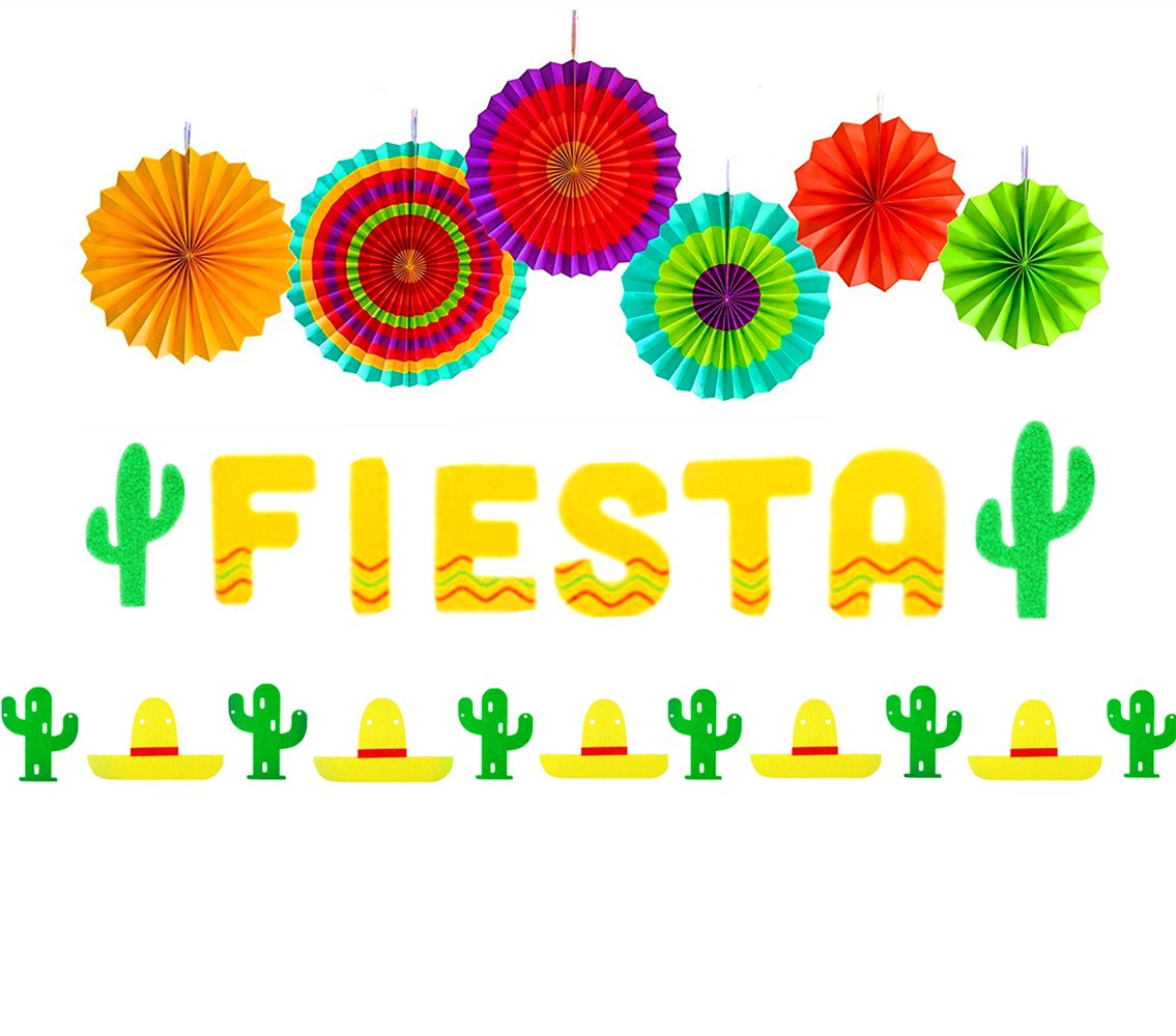 Set of 3 JeVenis Fiesta Banner Cactus Garlands Cinco De Mayo Banners Fiesta  Party Decorations for Wedding Birthday Baby Shower Party.