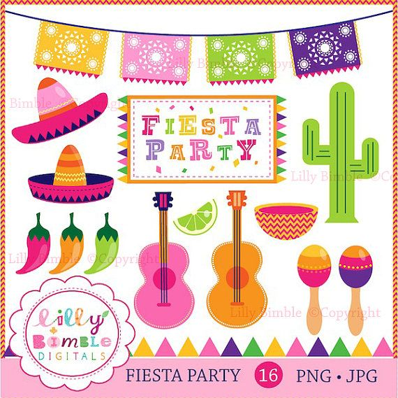 Fiesta Party clipart for invitations, cards, and party decor.