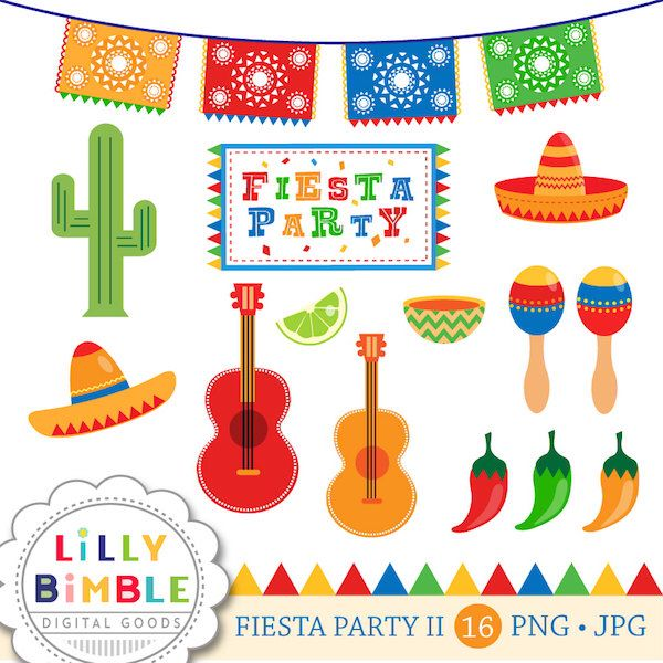 Fiesta Party in Primary Colors clipart for invitations.