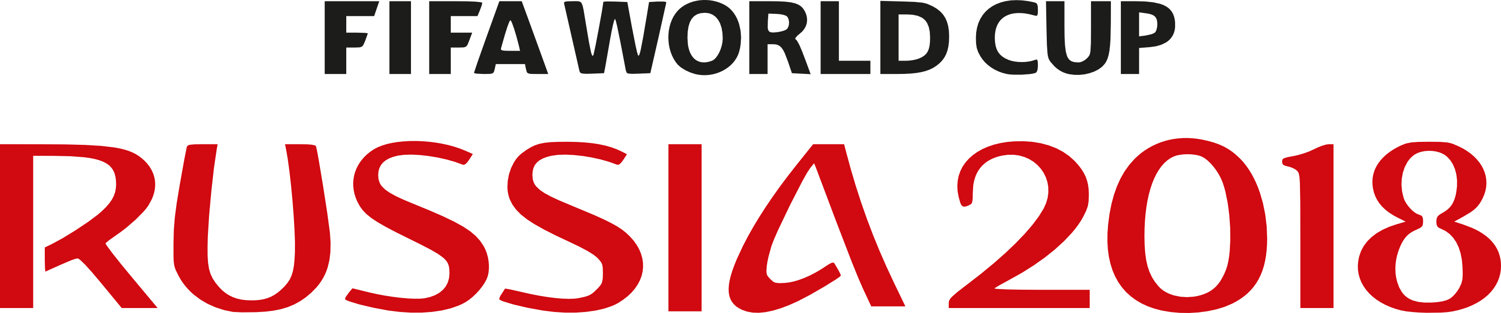Fifa World Cup Russia 2018 Large Text Logo transparent PNG.