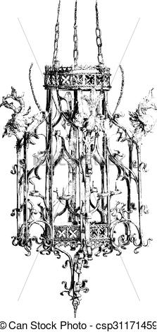 Clipart Vector of National Museum of Munich, Iron chandelier of.
