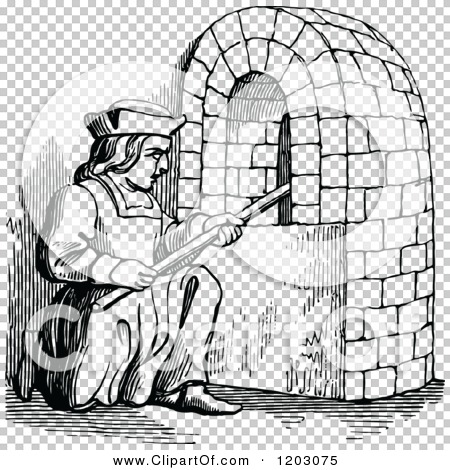 Clipart of a Vintage Black and White Fifteenth Century Baker.