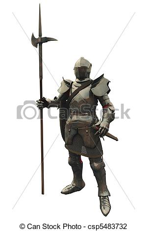Clip Art of Fifteenth Century Medieval Knight.