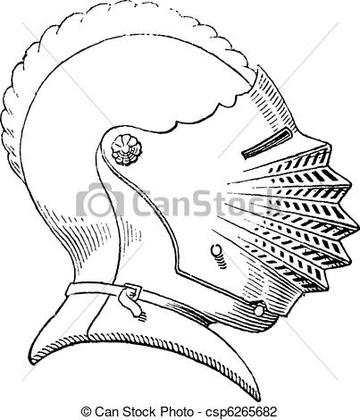 Vector Illustration of Fifteenth century helmet or galea vintage.