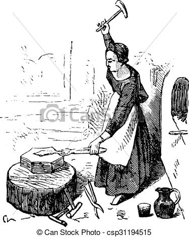 Vector Clip Art of Forge in the fifteenth century, On after.