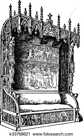 Clipart of Castle room bench, of Gothic style, late fifteenth.