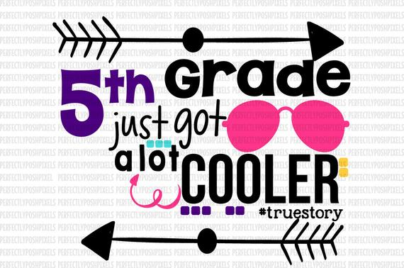 Back to School svg 5th grade School T shirt Clip Art Vinyl Teachers Cutting  Files for Cricut Design Space and Silhouette Cameo.