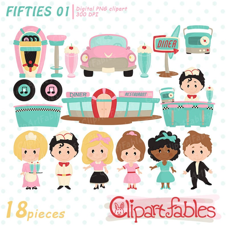 Cute 1950s Clipart Set, Fifties, Diner clip art, Sock Hop retro party,  vintage art for kids, digital clipart.