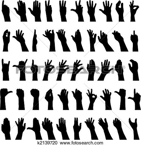 Clipart of Fifty hands k2139720.