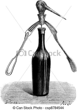 EPS Vector of Fig 1. Revolving forks magic trick, vintage.