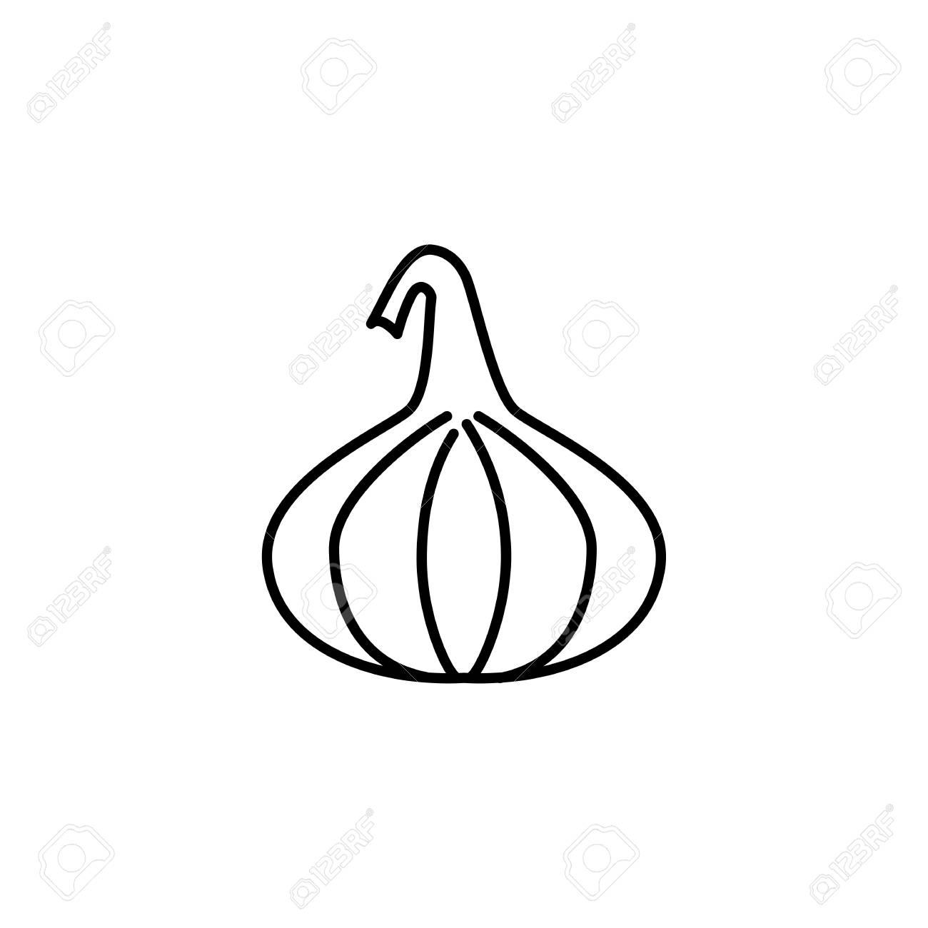 Black & white vector illustration of fig fruit. Line icon of...