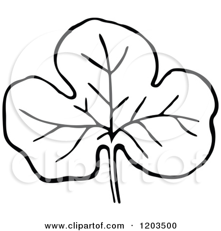 Clipart of a Vintage Black and White Leaf.
