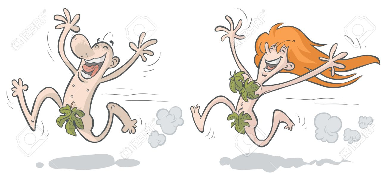 Merry Man And Woman Running, Dressed In Fig Leaves Royalty Free.