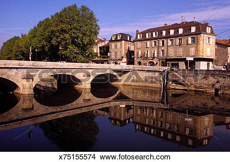 Stock Photo of Bridge of Cele River, Figeac, France x75155574.