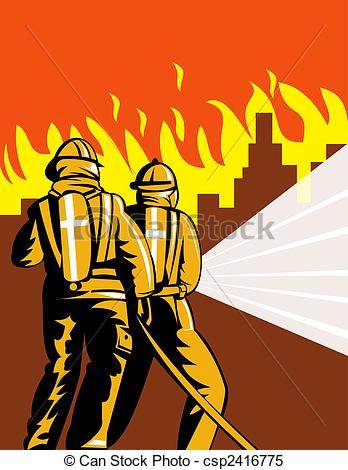 Stock Illustrations of Firemen fighting fire.