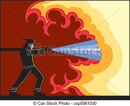 Vector Clipart of Fireman Fighting Fire.